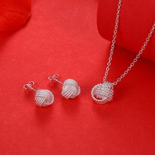 Buy Hot Sale Wholesale Fashion Jewelry Set 925 stamp silver plated Rose Ball Slide Necklaces & Earrings Valentine's Day Gifts Bridal ) for $1.96 in AliExpress store