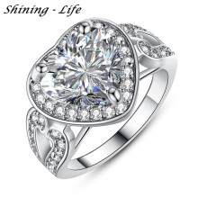 New Fashion Jewelry Big Heart Women Ring Silver Color Micro Pave Clear Cubic Zirconia Forever Rings For Wedding