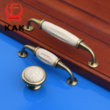 KAK 5pcs/lot Antique Crack Design Wardrobe Door Knobs Handles Marble Ceramic Cabinet Drawer Knobs European Furniture Hardware