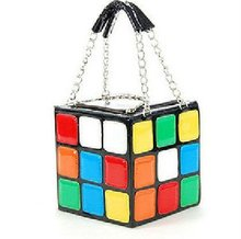 New 2014 Designer Unique Colorful Magic Cube Fashion Women Faux Patent Leather Handbag tote bag Lady Purse Free shipping