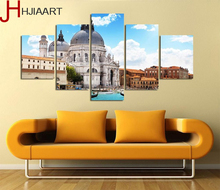 HJIAART Modern Canvas Painting 5 Pieces Wall Art Italy Venice Landscape Oil Painting City River Decorative Picture Home Decor(China)