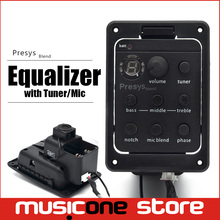 4Band Guitar Pickups Dual Mode Preamp EQ Tuner Piezo Pickup Equalizer System With Mic Beat Board Acoustic Guitar pickups(China)