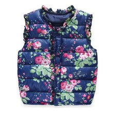 Winter Outerwear Coats Flower Printed Thick Princess Girls Vest Hooded Jackets Baby Girl Warm Waistcoat