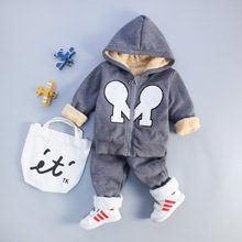 Boys Girls Children Hoodies Winter Spring Velvet Cashmere Baby Sports SuitJacket Sweater Coat & Pants Thicken Kids Clothes Sets