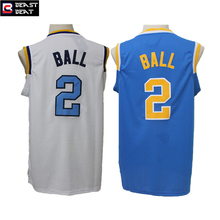 Beast Beat Lonzo Ball #2 College Basketball Jerseys White/Blue Colors Throwback Breathable Students Men's Jersey(China)