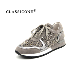 CLASSICONE 2017 newest sneakers women platform shoes Genuine leather suede black Pink gray shoes women's brand fashion luxury(China)