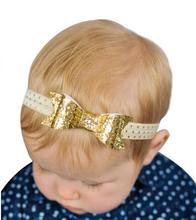 8PCS/lot New Design Sequin Bow Headband Glitter Hair Bow For Baby Girls Kids Elastic Hairband Children Hair accessory A39