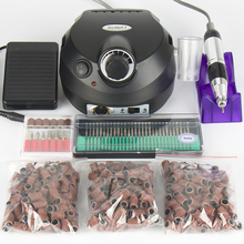 Electric Professional Nail Art Drill Machine Manicure Pedicure Pen Tool Set Kit 30pcs nail drill bit 300pcs sanding bands(China)