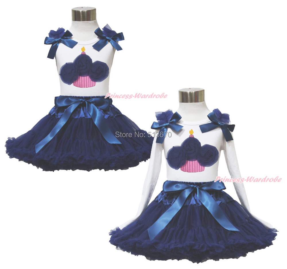 White Pettitop Top Shirt Birthday Cake Navy Blue Bow Pettiskirt Dress Set 1-8Y MAPSA0526<br>