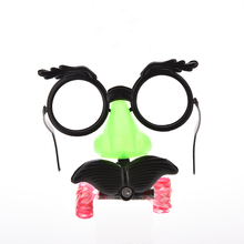 1PCS New Design Humor Toy Funny Clown Glasses Costume Ball Round Frame Red Nose Whistle Mustache Baby Toy Hot Sale(China)