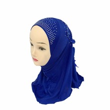 Premium Kids Girls Muslim Beautiful Hijab Islamic Arab Scarf Shawls with Beautiful Drill for 3 to 8 years old Girls(China)