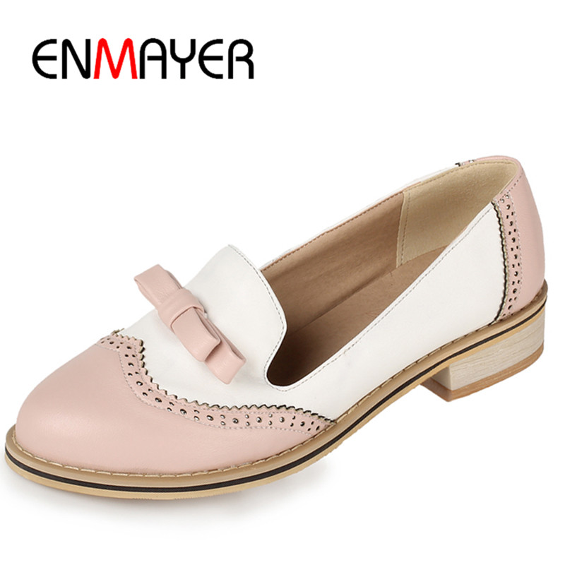 ENMAYER Low Heels Spring&amp;Autumn Pumps in Womens Shoes Bowties Charms Shoes Woman Small Size 33 Sweet Platform Shoes in Casual <br>