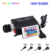 RGBW 16W LED Fiber Optic Engine Driver with 24key RF Remote Controller For All Kinds Fiber Optics(China)