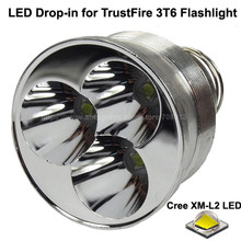 3 x Cree XM-L2 U3 White 6500K / Neutral White 4500K 3800 Lumens 8.4V LED Drop in for TrustFire 3T6 Flashlight (Dia 51mm)(China)
