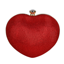 2017 Luxury Women Heart Shape Evening Clutch Bags Diamond Hand Bag Chain Bridal Wedding Party Mini Clutch Purse Gift XA381H