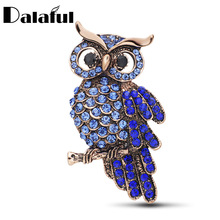 Dalaful Newest Arrival Crystal Owl Brooches For Wedding Bouquet Vintage Wedding Hijab Scarf Pin Up Buckle Z028