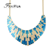 FANHUA  New Geometric Choker Big Necklace Blue Enamel Bib Statement Necklace Fashion Accessories Collier Femme
