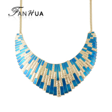 FANHUA  New Geometric Choker Big Necklace Blue Enamel Bib Statement Necklace 2016 Fashion Accessories Collier Femme