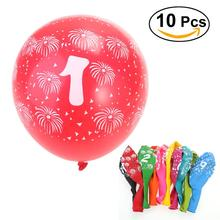 10pcs No.0-No.9 Latex Balloons For Birthday Party Wedding Decoration 3.2g Balloons Toy For Kids Having Fun (Random Color)