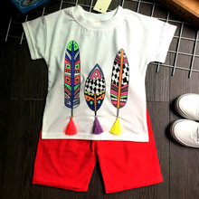 Summer Children's Clothing Sets New Personality 2017 Short Sleeve Character T-shirt+red Shorts Suit for Kids Boys Outfits