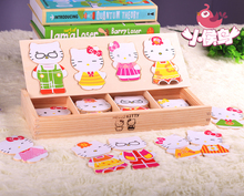 Educational toy wooden clothing kitty Dress change matching clad collocation stereo jigsaw puzzle game children gift 1pc