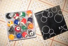 16pcs/set mini ball Pool Billiards snooker table ball keychain the same material as the real BILLIARDS gift CN post