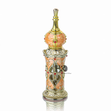 H&D Yellow Retro Arabian Palace Glass Perfume Bottle Antique Flower Essential Oil Cosmetic Container Home/Wedding Decor 13ML(China)
