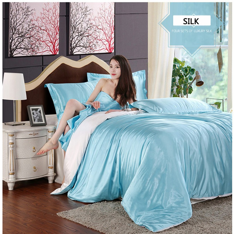 HOT! 100% pure satin silk bedding set,Home Textile King size bed set,bedclothes,duvet cover flat sheet pillowcases Wholesale 13