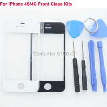 Front Outer Glass Lens Kits for iPhone 4S Front Cover Replacements for iPhone 4 Repair Parts Free Tools Black White
