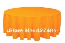 "Hot Sale 132 "" Orange Round Table Cloth Polyester Plain Table Cover For Wedding Events & Party Decoration"