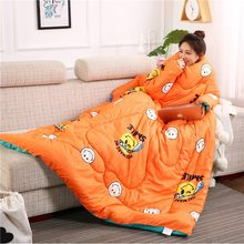 Winter Lazy Quilt with Sleeves Winter Quilt Home Bedding Comforter Printed Edredom Keep Warm Winter Duvet With Filling(China)