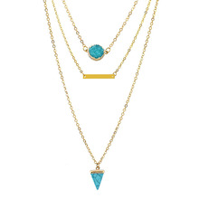 Women Design Multi Layer Necklace Natural Triangle Turquoises Resin Bar Pendant Gold Plating Chain Jewelry Charm Gift N001