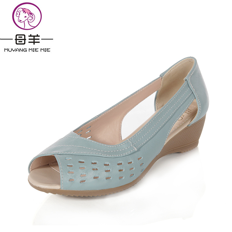 MUYANG Chinese Brand 2017 Women Genuine Leather Open Toe Wedge Sandals Summer Shoes Woman Casual Wedges Women Sandals<br>