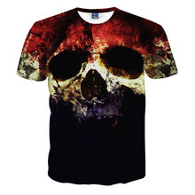Top Quality Halloween Men Brand Clothing Short Sleeve T Shirt Skulls Print 3D T-Shirt Mens Casual Tie Dye Tshirt Homme Camisetas