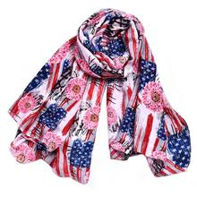 Cotton Scarf Women American Flag Printed Women Lady Shawl Flag PrintingInfinity Scarves Poncho Feminino Inverno Echarpe Mulher(China)