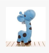 small cute cartoon spots giraffe toys lovely blue giraffe plush doll birthday gift about 25cm(China)