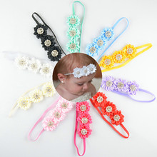 10pcs/lot 9cm 10colors Girls 3 Beautiful Satin Flowers Headband with Bling Rhinestone Kids  DIY Hair Accessories
