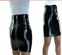 Buy PU Leather Skirt Plus Size Sexy Women Slim High Waist Straight Black PVC Skirt Vinyl Latex Skirts Bondage Clubwear Clothes