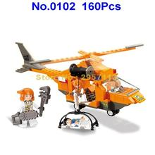Sluban 0102 160Pcs City Series Passenger Airport Emergency Rescue Helicopter Building Block Brick Toy(China)