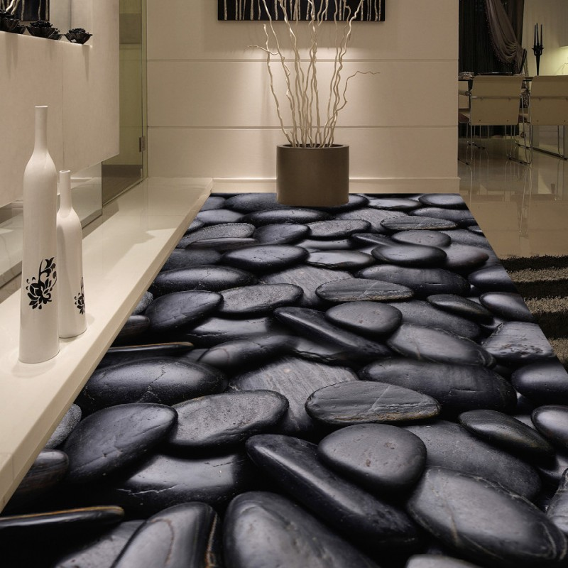 Free Shipping Black pebble stone floor self-adhesive waterproof anti-skidding bathroom lobby wallpaper living room mural<br>