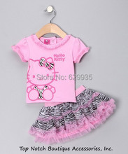 Retail 2016 Summer New Children Girl's 2 pic Hello Kitty cute girl Set baby Clothing sets dots skirt pants girls clothes(China)