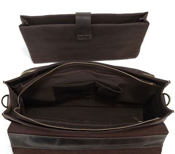 J.M.D Men's Fashion Genuine Cow Leather Dark Brown Business Briefcases Shoulder Bag Special Design Laptop Handbag 7105R