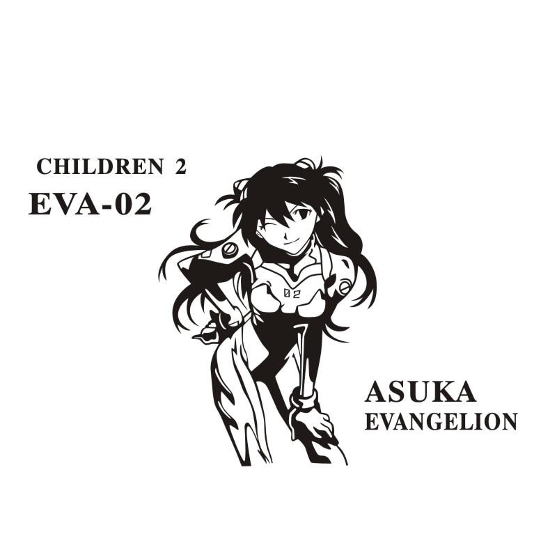 Pegatina NEON GENESIS EVANGELION Sticker Anime Cartoon ASUKA Car Decal Sticker Vinyl Wall Stickers  Decor Home Decoration