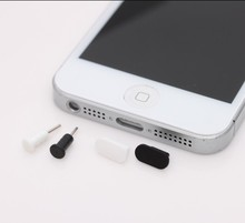 200pcs/lot  Data port plug + Headphone port plug anti dust plug for iphone 5/5S/6/6 plus 3 colors white black clear
