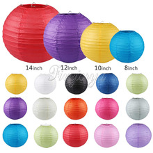 10pcs/lot Many Colors Paper Ball Chinese Paper Lanterns For Party and Wedding Decoration Hang Paper Lanterns 20cm 25cm 30cm 35cm(China)