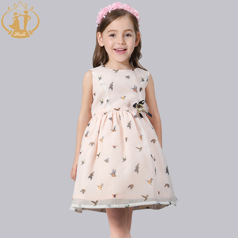 Nimble clpthes for girls Printed Bow Cute girls clothes Wear Sleeveless Knee-Length Ball Gown girls clothes vestidos trolls<br>
