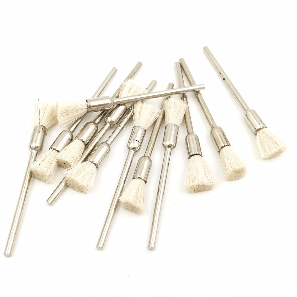 HOT 12pcs Goat Hair Polishing Wheel Brush Cup Rust for Dremel Accessories Engraver Abrasive Brushes Polishing Tool Gray/White