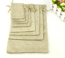 Wholesale 1000pcs 8x11cm/3x4 inch Faux jute/Hessian Mini Drawstring Wedding Favor Bomboniera Jewelry Gift Packaging Burlap Bags(China)