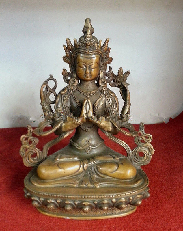 21 cm * / The collection!Old Chinese antiques dynasty copper figure of Buddha(China (Mainland))
