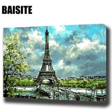 BAISITE DIY Framed Oil Painting By Numbers Landscape Pictures Canvas Painting For Living Room Wall Art Home Decor E823(China)